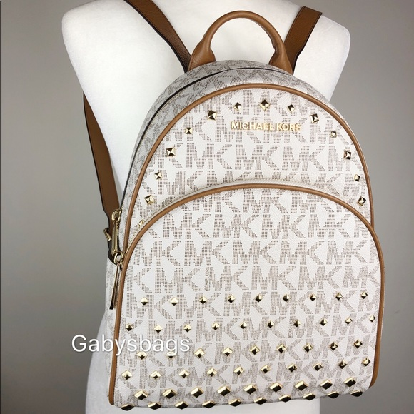 a5e7051a66bce Michael Kors Abbey Medium Backpack Vanilla MK Stud